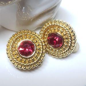 Ruby red Swarovski crystal earrings